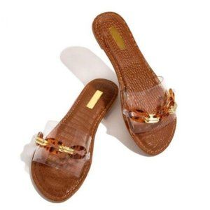 Shoes - Single Strap Slides in Clear/Tortoise